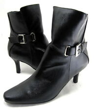 ANNIE SHOES WOMEN'S BURTON HIGH-HEEL ANKLE BOOT BLACK LEATHER-LIKE SIZE 6.5 MED