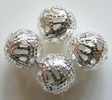75pcs 8mm Round Metal Ironwork Filigree Spacers - Bright Silver
