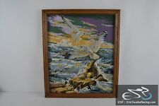"""Seagulls & Rocks on the Ocean Wood Frame Cross Stitch Needlepoint Picture 27x23"""""""