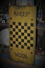 Ex Lg Mustard Wood Sign Sheep Wool Game Board Country Primitive Rustic Folk Art