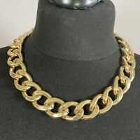 STATEMENT Chunky Chain Necklace Gold Tone Collar Length Runway Y2K 90s Retro