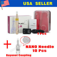 NEW Auto Micro Electric Derma Dr Pen Needle Roller+nano 10 needles cartridges