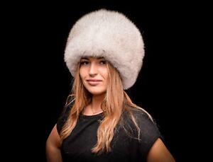 Selected Saga Furs Blue Fox Fur Women's Cossacks Very Warm Winter Hat