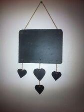 Reel Slate4 Hanging Hearts Slate Chalkboard Shabby Chic Plaque Message Weddings