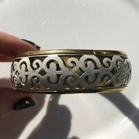 Statement Chunky Bangle Bracelet White Cut Out Swirls Filigree Boho Gold Tone