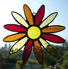 Stained Glass Flower - Handmade - Daisy - Reds/Oranges - Suncatcher - NEW