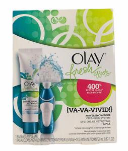 ❤️ Olay Fresh Effects {VA-VA-VIVID!} Powered Contour Cleansing Brush System BLUE
