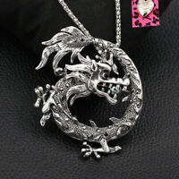 Betsey Johnson Retro Crystal Dragon Pendant Sweater Chain Necklace/Brooch Pin