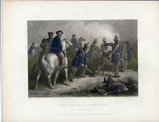 Hand Colored Steel Engraving ~ General Taylor at Buena Vista ~ Virtue (1859)