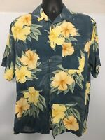Banana Cabana Vtg Floral Yellow 100% Silk Hawaiian Print Button Up Shirt Medium