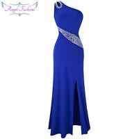 Angel-fashions One-Shoulder-Edelsteine Split aushöhlen Abendkleid blau A-075