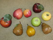 Excellent life-like realistic natural fake fruit 7 apples, 1 pear - plus layered