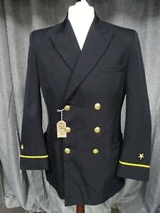 Vintage US Navy Dress Jacket Ensign Rank Officer Uniform Winter Wool Coat