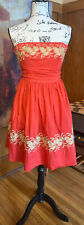 ANTHROPOLOGIE Girls From Savoy Strapless Dress Orange Gold Tan Embroidery Sz 4