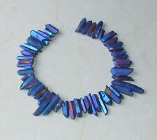 Indigo Blue Titanium Quartz Crystal Points Strand Raw Pendant Beads  20-40+mm