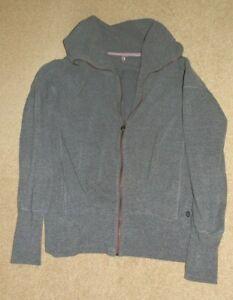 Sweaty Betty Long Sleeve Heather Zipped Cotton Blend Sweatshirt    Size S