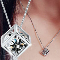 Fashion Women's Silver Plated Chain Crystal Rhinestone Necklace Pendant