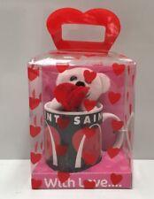 "GENERIC "" LOVE HEART "" PLUSH TOY & HANDLED COFFEE CUP MUG 370ML"