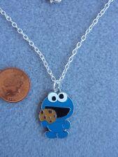 "Cookie Monster Enamel Charm Pendant Necklace 18"" Chain Sesame Street Gift # 245"