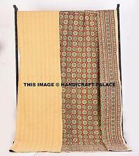 Indian Handmade Kantha Blanket Quilt Bedding Bedspreads Cotton Ajrakh King Size