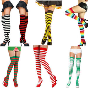 Sexy Xmas Stripes Long Socks Tights Red Green White Yellow Black Stripy Adult