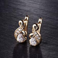18K Gold Filled Pear Swarovski Crystal Vintage Womens Tiny Stud Hoop Earrings