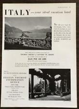 1936 Italian Tourist Information Office Print Ad Italy Your Ideal Vacation Land