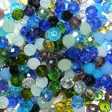 CRX697 Blue Mix Color & Finish 10mm Rondelle Faceted Crystal Glass Beads 200/pkg