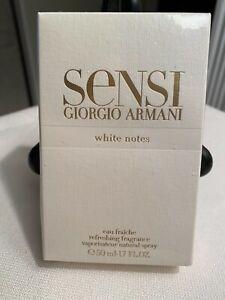 SENSI WHITE NOTES• GIORGIO ARMANI • EAU FRAICHE • Spray 50 ml/1.7 fl oz *RARE *