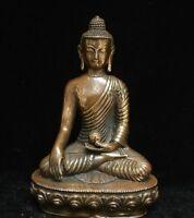 Tibet Buddhism Temple old Bronze Copper Seat Bowl Menla Medicine Buddha Statue