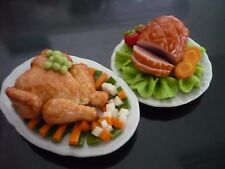 Dollhouse Miniatures Thanksgiving Food Roast Ham and Turkey on Plate (3.50 cm)-2