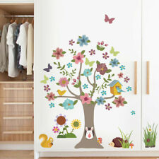 Colorful Forest Tree Wall Stickers Flower Butterfly Animals Wall Decals 30x90cm