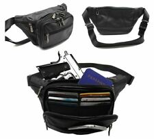 30a9305bed10 Black Leather Large Fanny Pack Waist Bag Travel Hip Purse 6 Credit Card  Slot JTC