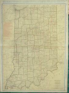 1922 LARGE AMERICA MAP ~ INDIANA RAILROADS PRINCIPAL CITIES ~ RAND MCNALLY