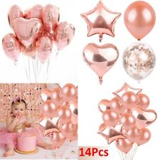 14Pcs/Set Rose Gold Foil Latex Balloon Helium Birthday Party Wedding Decoration