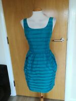 Ladies OASIS Dress Size 12 Teal Green Tulip Party Evening Wedding Races