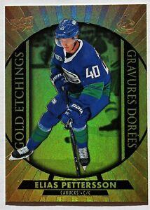 2020-21 Tim Hortons; Gold Etchings G-3 Elias Pettersson Vancouver Canucks