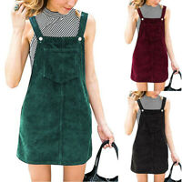 Women Corduroy Straight Suspender Mini Bib Overall Pinafore Pocket Short Dresses