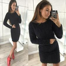 Women Lady Winter Long Sleeve Knitted Sweater Fleece Warm Basic Short Mini Dress