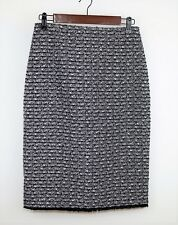 J. CREW Women's 2 - BLACK & WHITE TWEED KNIT STRAIGHT SKIRT - Below The Knees