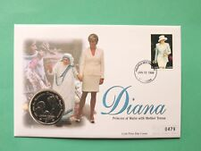 1998 Diana Princess of Wales Cover & UNC Sierra Leone 1$ Dollar coin SNo45446