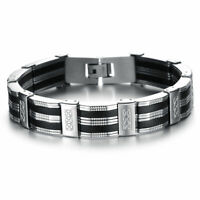 Black Silicone Silver Stainless Steel Chain Wristband Bracelet for Men's  Gift
