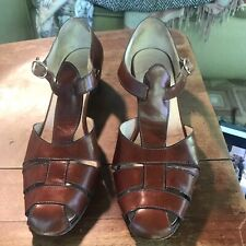 Vintage Tanino Crisci Womens 8 1/2 B Tan Leather Shoes Sandals Woven