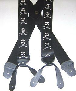 "MENS BRACES SKULL CROSSBONES BLACK MOTORBIKE FISHING BUTTON 2"" BRACE YOURSELF"