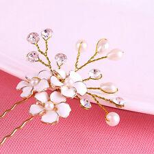 Wedding Party Women Bridal Glaze Crystal Pearl Flower Hair Clip Pin Accessories