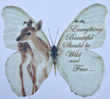 British Wild Life Fawn in Sparkling Snow- Butterfly with Quote 3D Wall Decal