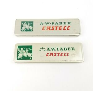 2 Vintage A W Faber Castell Tin Pencil Box With Pencils