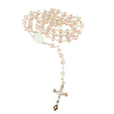 PINK Crystal Glass Religious ROSARY Necklace With Crucifix