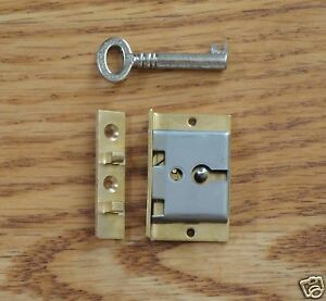 Lock Half Mortise With Key For Box Lid Chest or Drawer Door Brass and Steel