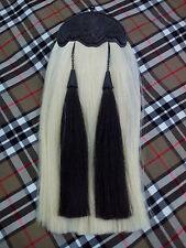 Highland Kilt Sporran Original White & Black Horse Hair Thistle Cantle Jet Black